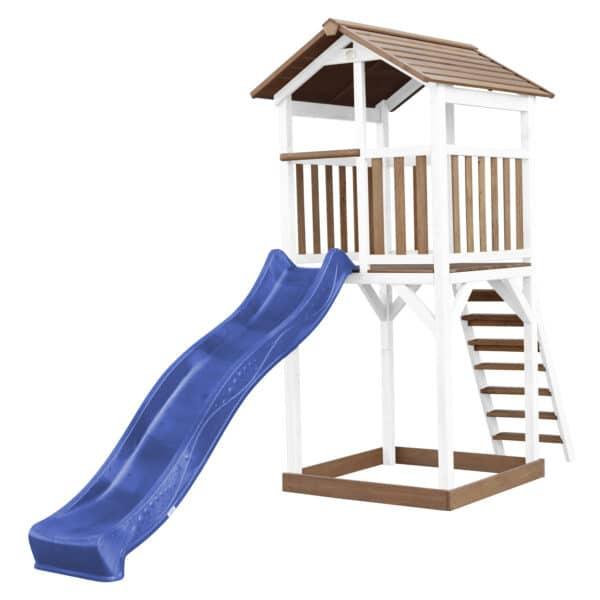Beach Tower Speeltoren Bruin wit AXI glijbaan blauw