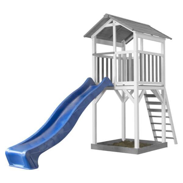 Beach Tower Speeltoren Grijs wit AXI glijbaan blauw