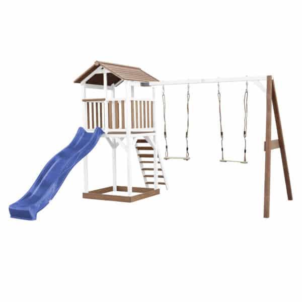 Beach Tower Speeltoren met Dubbele Schommel Bruin wit AXI glijbaan blauw