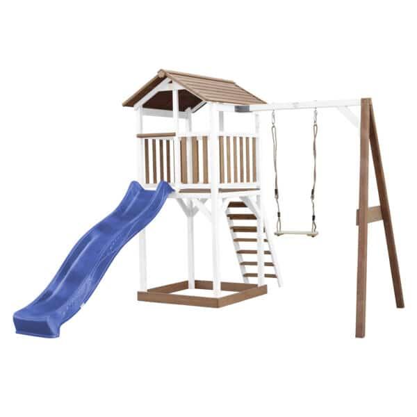 Beach Tower Speeltoren met Enkele Schommel Bruin wit AXI glijbaan blauw