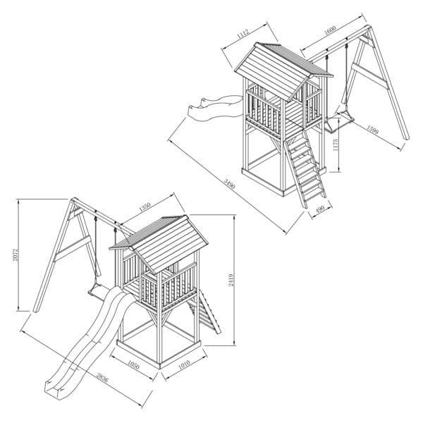 Beach Tower Speeltoren met Enkele Schommel Grijs wit AXI tekening