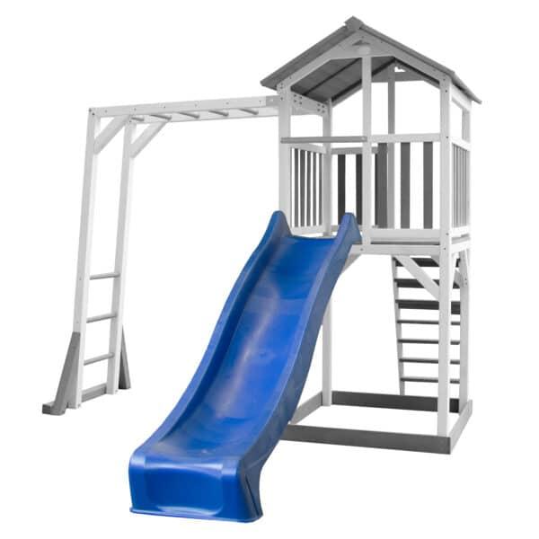 Beach Tower Speeltoren met Klimrek Grijs wit AXI glijbaan blauw