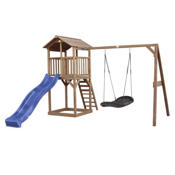 Beach Tower Speeltoren met Roxy Nestschommel Bruin AXI glijbaan blauw