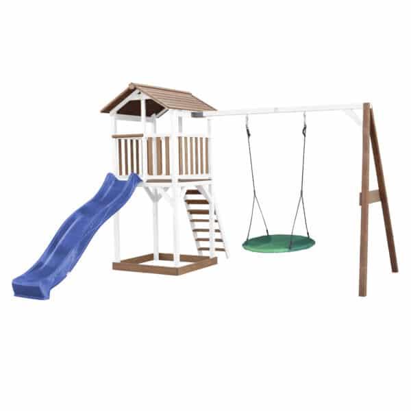 Beach Tower Speeltoren met Roxy Nestschommel Bruin wit AXI glijbaan blauw