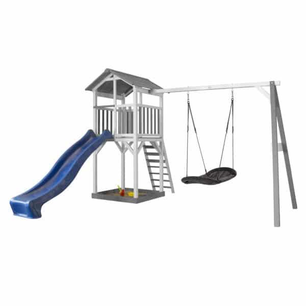 Beach Tower Speeltoren met Roxy Nestschommel Grijs wit AXI glijbaan blauw
