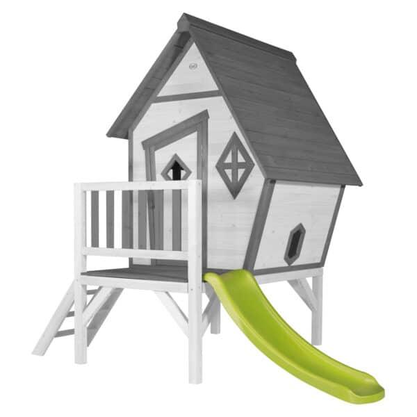 Cabin XL Speelhuis Grijs wit glijbaan limoen groen