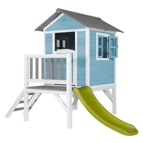 Lodge XL Speelhuis Caribisch Blauw glijbaan limoen groen
