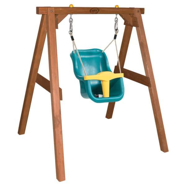 Baby Schommel Bruin met zitje Turquoise/geel