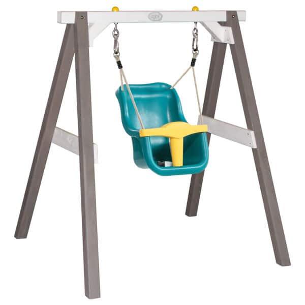 Baby Schommel Grijs/wit met zitje Turquoise/geel